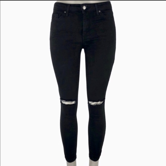 c645aa91af6 Topshop Jeans | Moto Leigh Black Ripped Skinny 26 | Poshmark